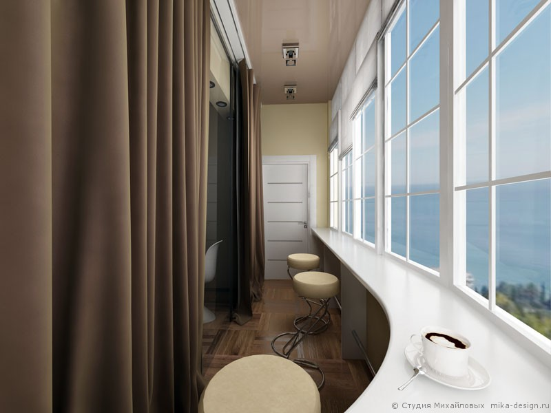 дизайн балкона хайтек
