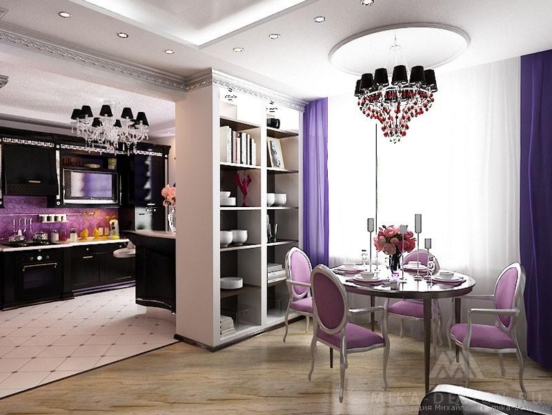 кухня и гостиная в стиле ар-деко
