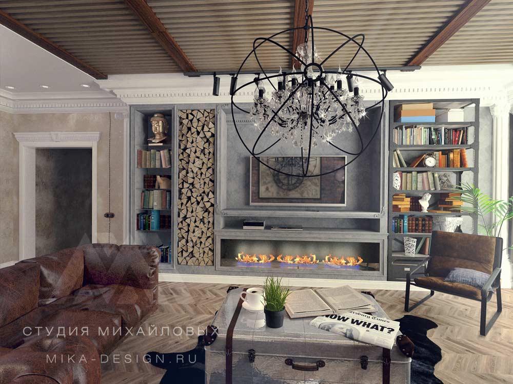 серый в гостиной