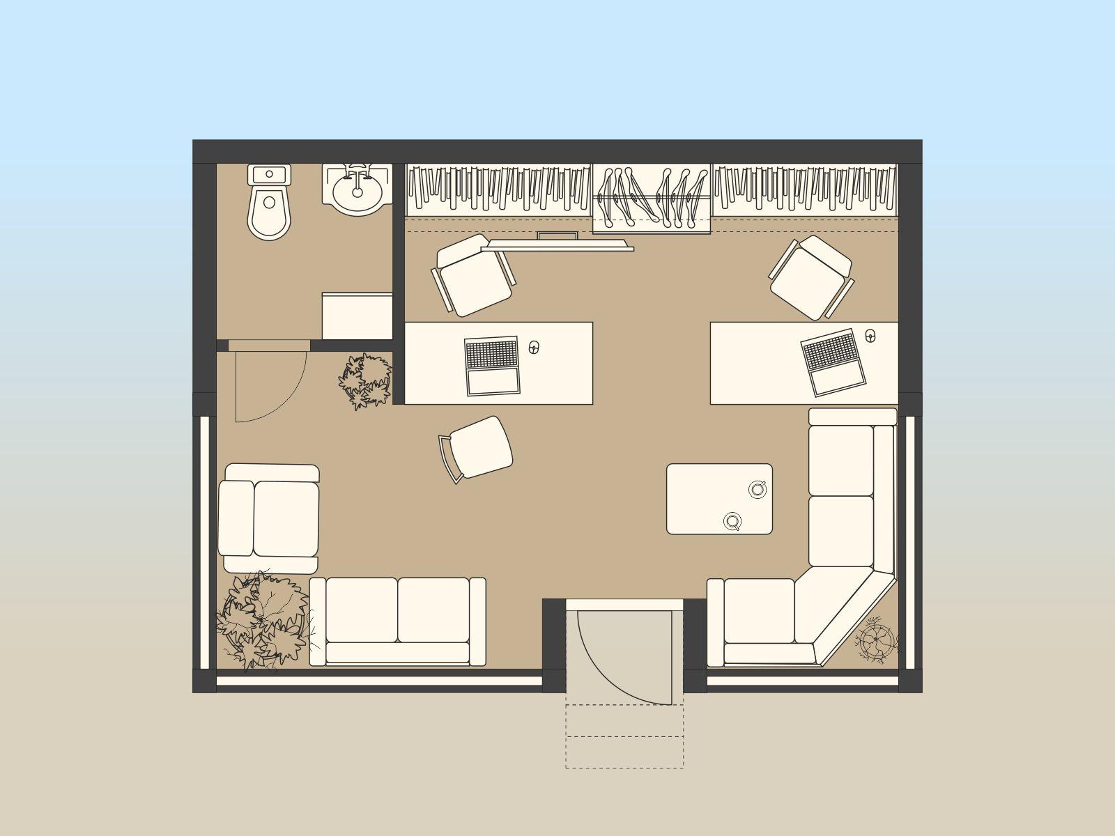 планировка маленького офиса